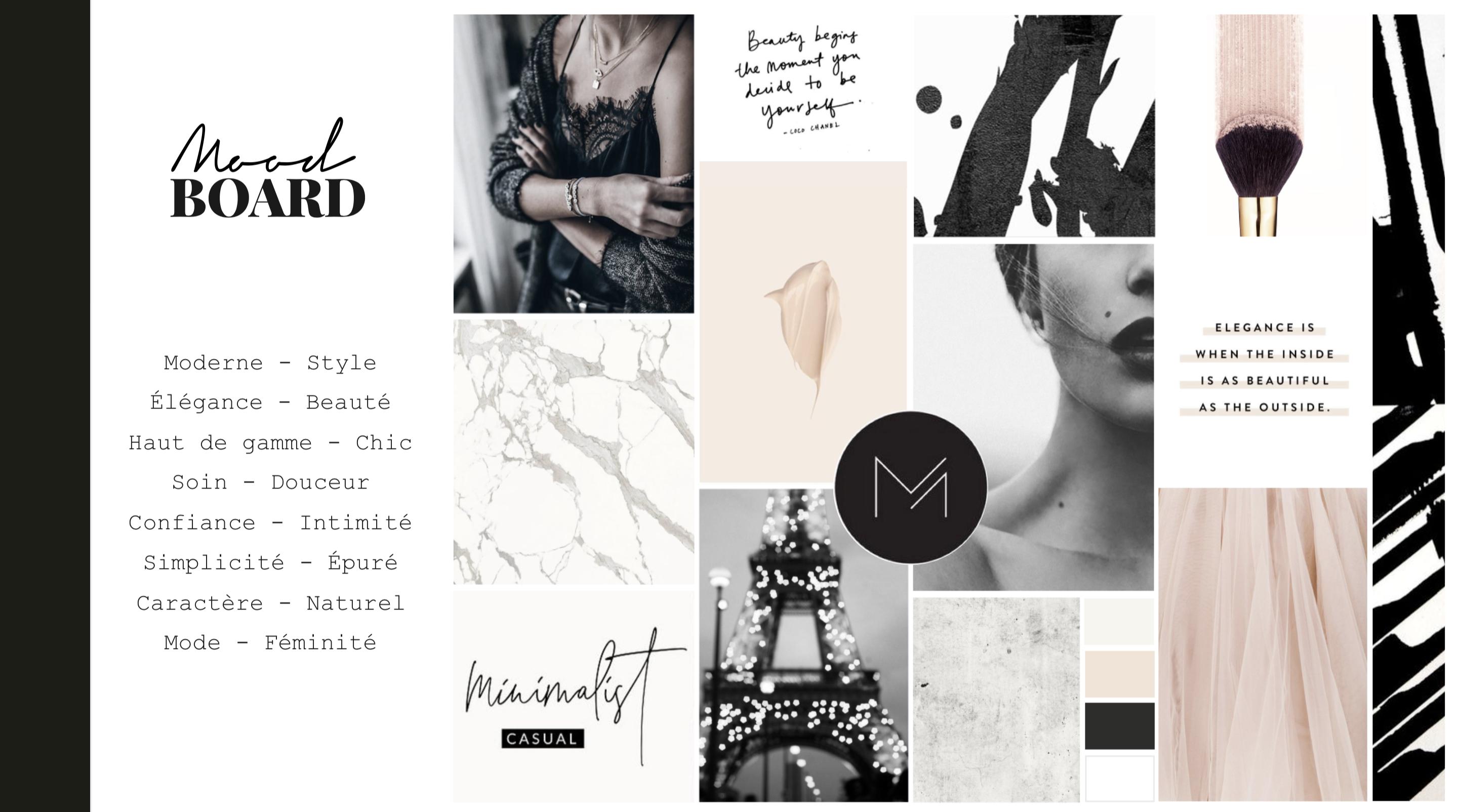 Moodboard pour la création d'identité de marque de Delphine Pagès