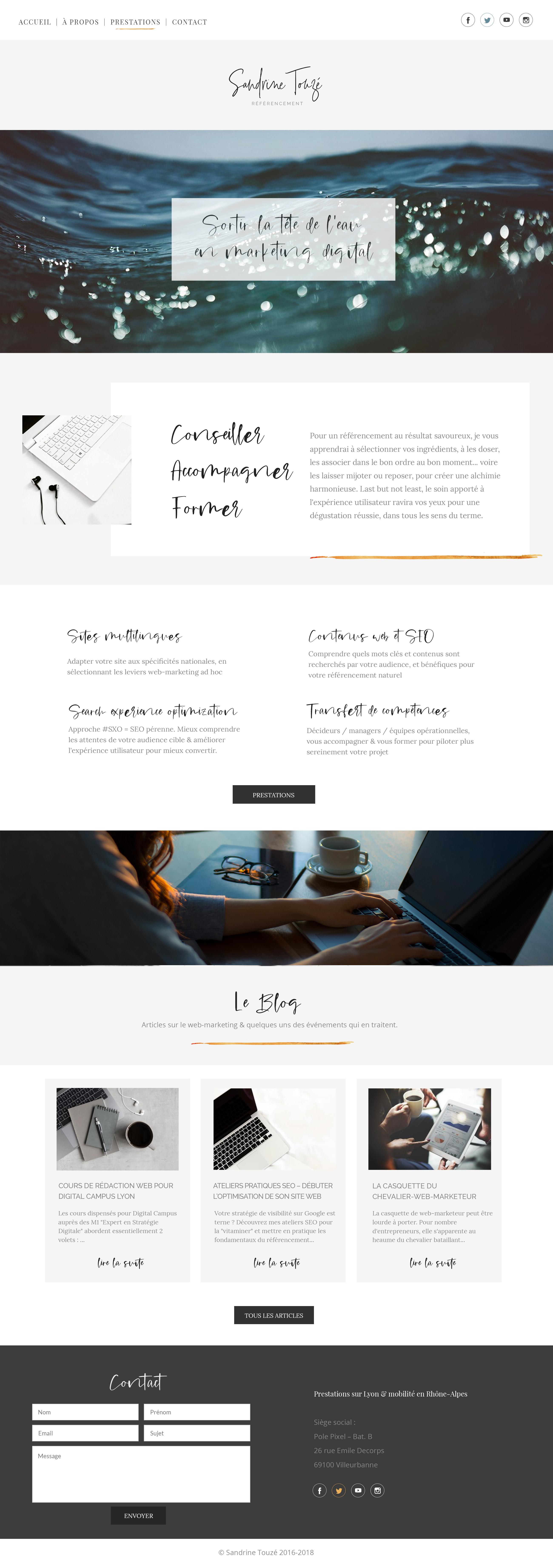 Site web réalisé pour Sandrine Touzé