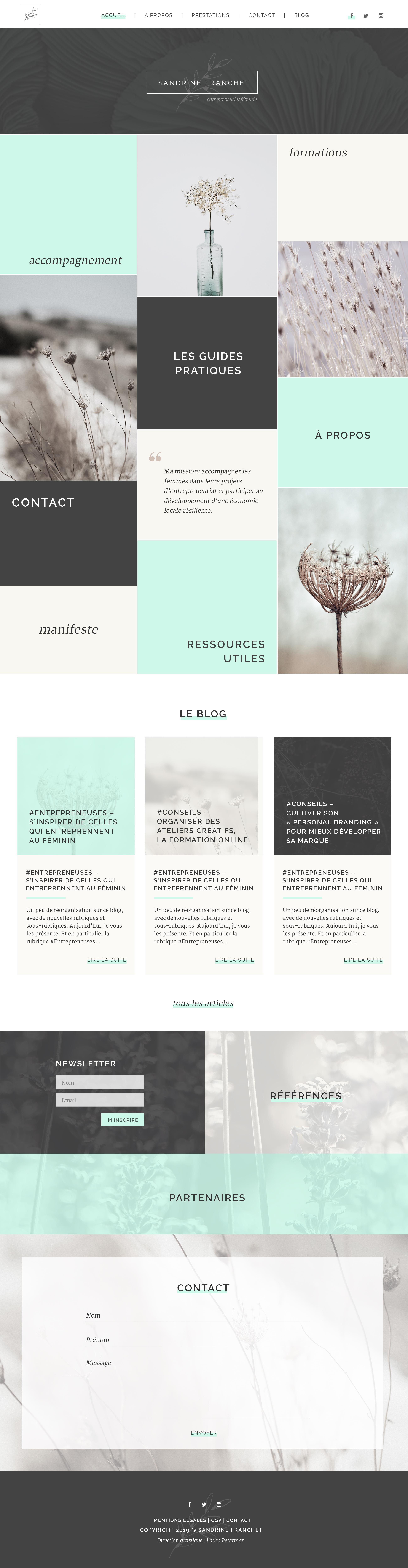 Site web réalisé pour Sandrine Franchet